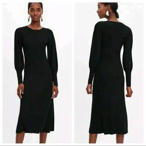 NWT. Zara Black Puffy Sleeves Dress. Size M.